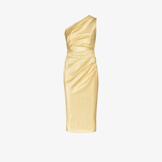 Dolce & Gabbana One Shoulder Metallic Midi Dress