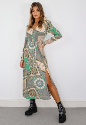 Missguided Tall Green Scarf Print Half Button Midi Tea Dress