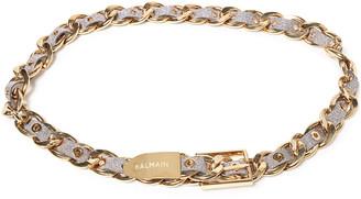 Balmain Gold-tone And Metallic Leather Belt