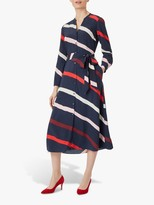Hobbs Petite Ginnie Stripe Dress, Navy/Multi