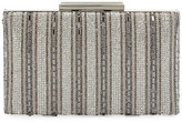 Neiman Marcus Crystal-Stripe Evening Clutch Bag, Silver
