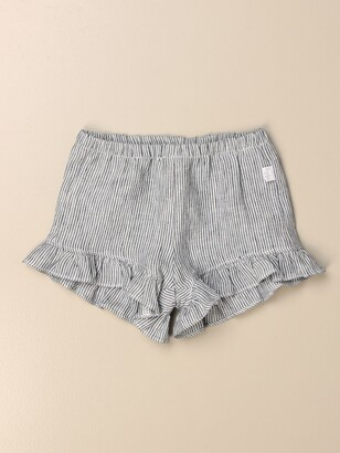 Il Gufo Shorts In Micro-striped Linen