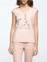 Calvin Klein Brushstroke Foil Logo V-Neck T-Shirt