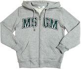 MSGM Logo Hooded Zip-Up Cotton Sweatshirt