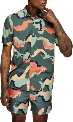 Topman Slim Fit Camouflage Short Sleeve Button-Up Shirt