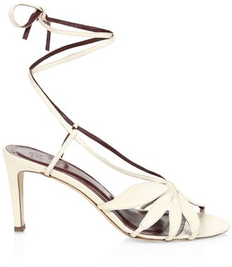 STAUD Floral Ankle-Tie Leather Sandals