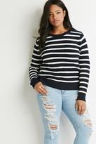Forever 21 Plus Size Striped Waffle Knit Sweater