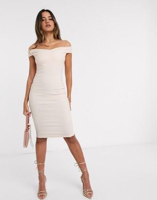 Vesper bardot midi dress in blush