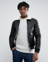 Pull&bear Faux Leather Aviator Jacket With Fur Collar In Black