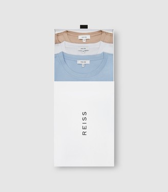 Reiss BLESS THREE PACK OF CREW NECK T-SHIRTS SOFT BLUE/ WHITE/ STONE