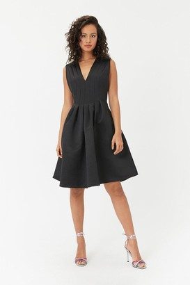 Coast Plunge Neck Structured Full Skirted Dress