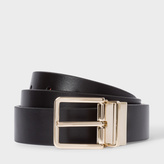 Paul Smith Men's Black And Signature Stripe Leather Cut-To-Fit Reversible Belt