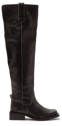 Ganni Square-toe Faded-leather Over-the-knee Boots - Womens - Black