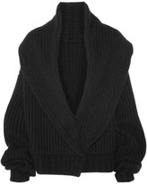 The Row Loretta Ribbed Wool And Cashmere-blend Cardigan - Black