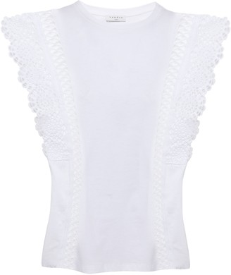 Sandro Broderie Anglaise-trimmed Cotton-jersey Top