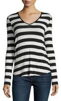 Velvet Kabira Striped V-Neck Top, Black/Cream