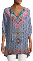 Tolani Veera Graphic-Print Silk Tunic