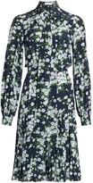 Michael Kors Floral Pleated Silk Shirtress