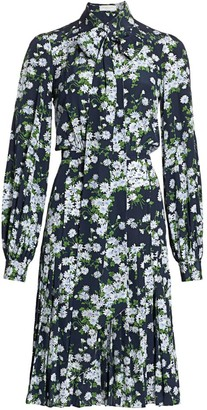 Michael Kors Floral Pleated Silk Shirtress
