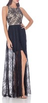 JS Collections Women's Jersey & Lace Peekaboo Gown