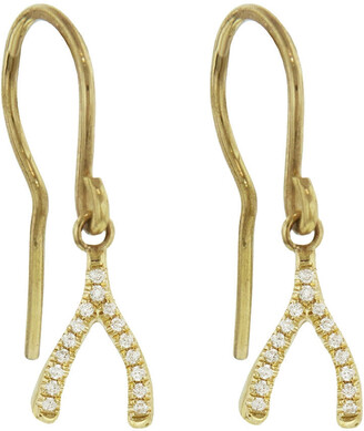 Jennifer Meyer Diamond Mini Wishbone Yellow Gold Drop Earrings