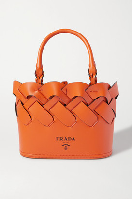 Prada Small Woven Leather Tote - Orange