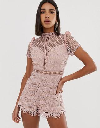 Love Triangle high neck cutwork lace romper in pink