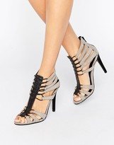 Little Mistress Gray Caged Heels
