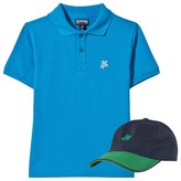 Vilebrequin Blue Polo with Turtle Embroidered Cap