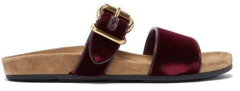Prada Double Strap Velvet Slides - Womens - Burgundy