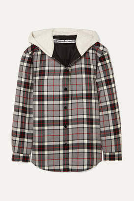 Alexander Wang Checked Wool-flannel And Cotton-jersey Jacket - Gray
