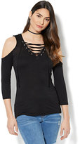 New York & Co. Manhattan Tee - Lace-Up Cold-Shoulder Top