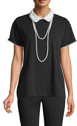 Karl Lagerfeld Paris Peter Pan Collar Short-Sleeve Top