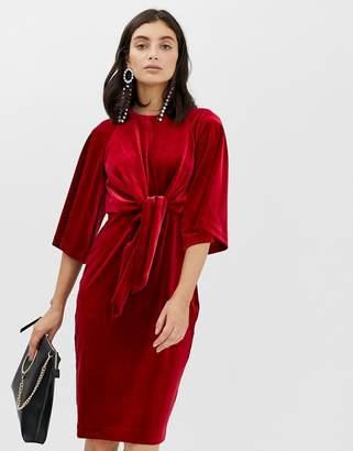 InWear Vonda velvet tie front dress-Red