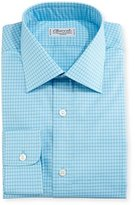 Charvet Mini-Check Dress Shirt, Blue/Teal