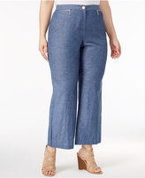 JM Collection Plus Size Chambray Zip-Pocket Pants, Only at Macy's