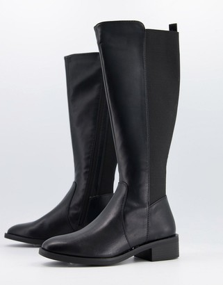 New Look knee high leather look boots in black