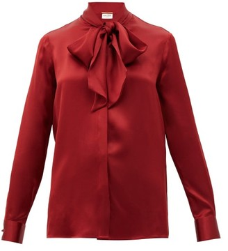Saint Laurent Pussy-bow Silk-satin Blouse - Red