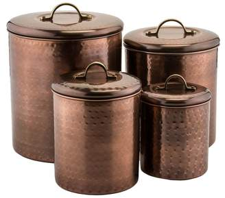 Old Dutch Set of Four Hammered Canisters