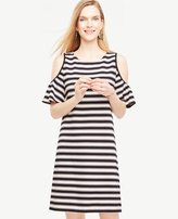 Ann Taylor Tall Stripe Cold Shoulder Flutter Sleeve Dress
