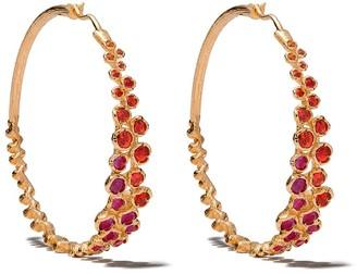 Annoushka 18kt yellow gold large Hidden Reef sapphire hoop earrings