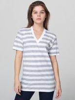 Unisex Fine Jersey Stripe Short Sleeve V-Neck