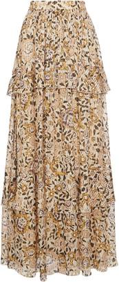 Etro Pleated Floral-Print Silk Maxi Skirt