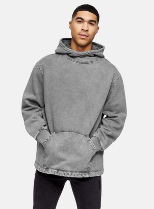 Topman Washed Black Relaxed Hoodie
