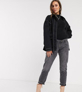 Topshop Maternity overbump mom jeans in washed black