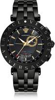 Versace V-Race GMT Alarm Black Plated Men's Watch