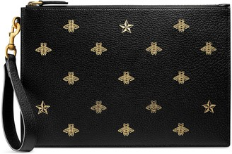 Gucci Bee Star leather pouch
