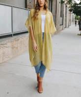 Leto Collection Women's Kimono Cardigans MUSTARD - Mustard Sheer Kimono - Women