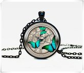 Flowers Steampunk clock pendant Steampunk watch necklace