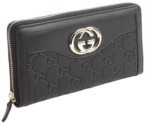 Gucci black leather guccissima zip continental wallet